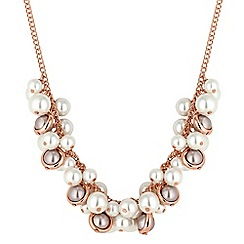 The Collection - Gold and grey pearl cluster necklace