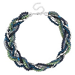 The Collection - Green and blue beaded twist necklace