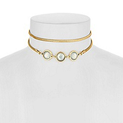 The Collection - Gold crystal multi row necklace