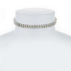 The Collection - Silver crystal diamante choker necklace