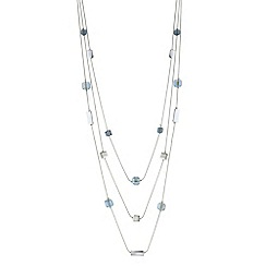 The Collection - Blue cube bead multi row necklace
