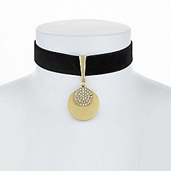 The Collection - Gold pave disc drop choker necklace