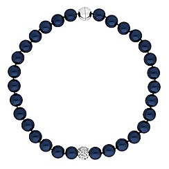 The Collection - Navy pearl and pave ball necklace