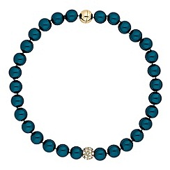 The Collection - Teal pearl and pave ball necklace