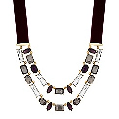 The Collection - Faceted crystal multi row ribbon necklace