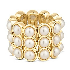 The Collection - Triple pearl row stretch ring