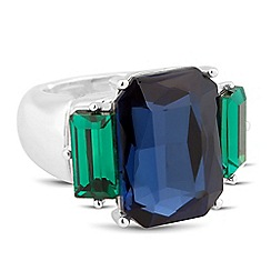 The Collection - Blue and green baguette stone stretch ring