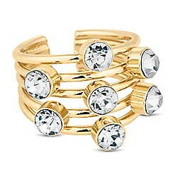 The Collection - Crystal encased multi row adjustable ring
