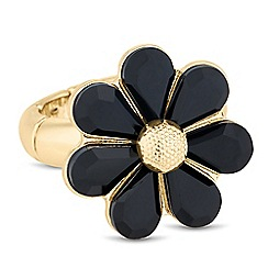 The Collection - Jet and gold flower stretch ring