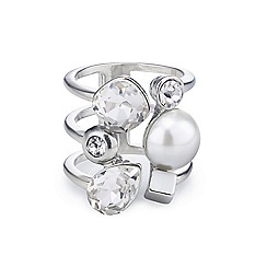 The Collection - Pearl and crystal cage adjustable ring