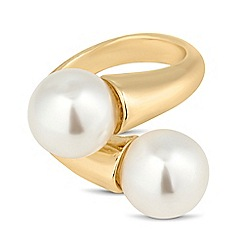 The Collection - double pearl crossover adjustable ring