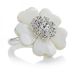 The Collection - Cream pearl crystal flower ring