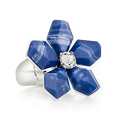 The Collection - Blue crystal flower ring