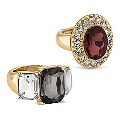 The Collection - Crystal surround rings set