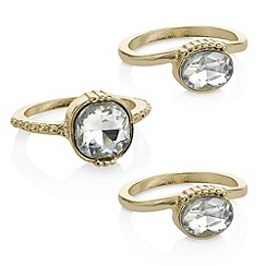 The Collection - Gold crystal stacking ring set