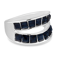 The Collection - Blue crystal double row ring