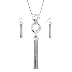 The Collection - Polished silver ring chain tassel drop jewellery set