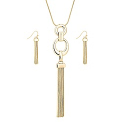 The Collection - Polished gold ring chain tassel drop jewellery set