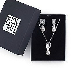 The Collection - Square crystal surround pearl drop jewellery set