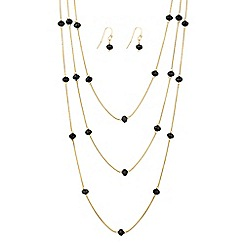 The Collection - Jet bead fine multi row chain jewellery set