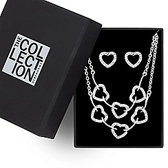 The Collection - Great value crystal encased heart link jewellery set