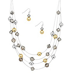 The Collection - Multi row beaded necklace and earring set