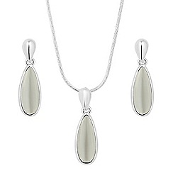 The Collection - Polished cats eye effect peardrop jewellery set