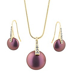 The Collection - Purple effect pearl button jewellery set