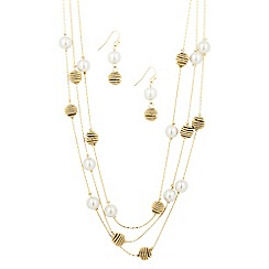 The Collection - Pearl and gold spiral multi row jewellery set