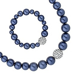 The Collection - Blue pearl and crystal ball jewellery set