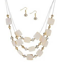 The Collection - Square shell multi row necklace with matching earring