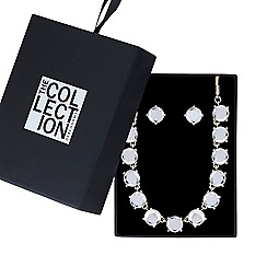 The Collection - Crystal row necklace with matching earring