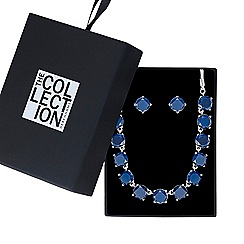 The Collection - Blue crystal necklace with matching earring
