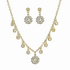 The Collection - Aurora borealis flower drop necklace and matching earring set