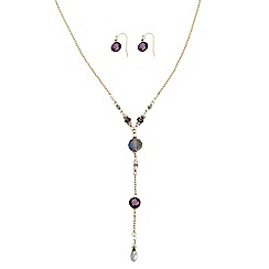 The Collection - Beaded lariat necklace with matching earring