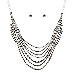 The Collection - Grey crystal diamante multi row necklace and earring set