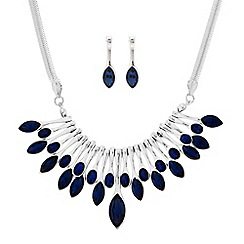 The Collection - Blue mixed stone stick necklace and matching earrings set