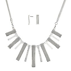 The Collection - Silver and glitter crystal wave stick necklace and matching earrings set
