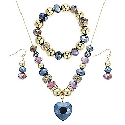 The Collection - Gold beaded heart jewellery set