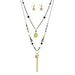 The Collection - Beaded double row tassel necklace and matching earring set