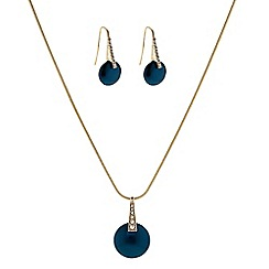 The Collection - Teal button pearl necklace with matching earrings set