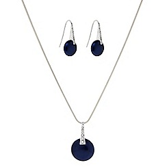 The Collection - Blue button pearl necklace with matching earrings set