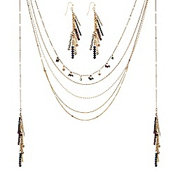 The Collection - Gold multi row beaded tassel necklace and earring set