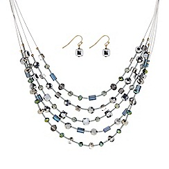 The Collection - Multi bead threaded necklace and earring set