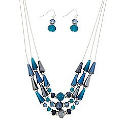 The Collection - Blue beaded three row necklace and matching earring set