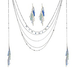 The Collection - Silver multi row beaded tassel necklace and earring set