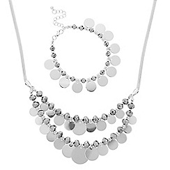 The Collection - Silver bead and disc necklace and matching bracelet set