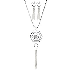 The Collection - Silver hexagon tassel necklace and matching earring set