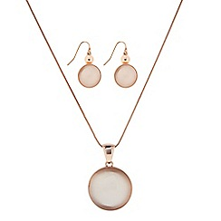 The Collection - Rose gold round stone pendant necklace and earring set