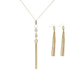 The Collection - Gold pave tassel necklace and earring set